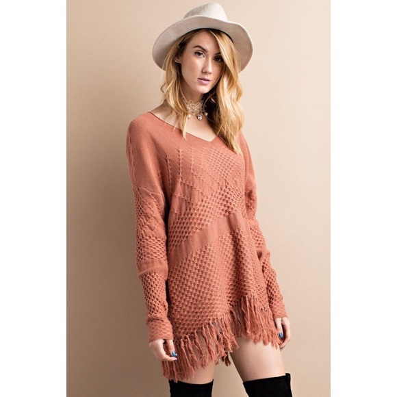 Sweaters - Cinnamon Knit Fringe Sweater Tunic