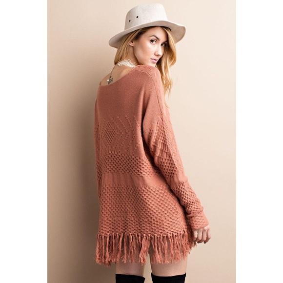 Sweaters - Cinnamon Knit Fringe Sweater Tunic