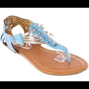 Victoria K Shoes - Women's Blue Perforated Thong Sandals S2004