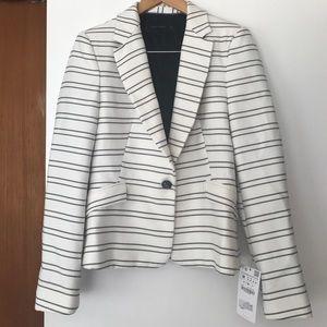NWT Zara Navy Cream Striped Nautical Blazer Jacket