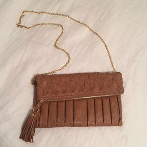 Urban Expressions Handbags - Brown Purse/Clutch w Tassle & Removable Gold Chain