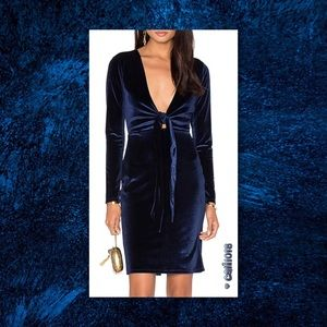 JUST IN🆕Blue Velvet Mini Dress Tie Front