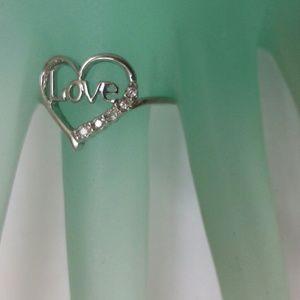"Other - Estate 10k gold 5 diamond heart shaped ""love"" ring"