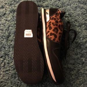 Charlotte Russe Shoes - Leopard/Black Sneakers + black Pom Pom hair tie