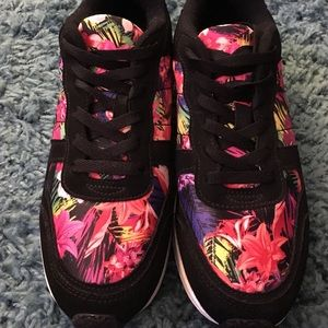 Charlotte Russe Shoes - Colorful Floral/Black Sneaker + Pom Pom hair tie