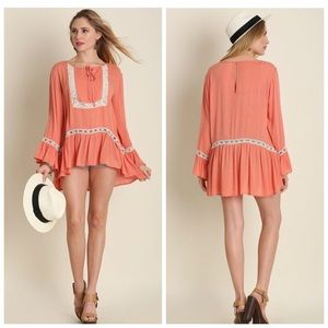❗️CLEARANCE❗️Coral Bell Sleeve Crochet Tunic S M L