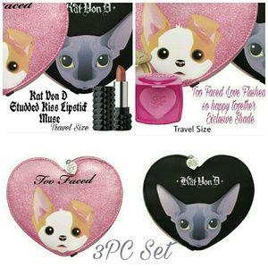 Too Faced Other - 3PC SET Too Faced ✂️Blush Kat Von D Lip Makeup Bag