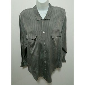 lovedoll Tops - Vintage grey striped collared long sleeves top