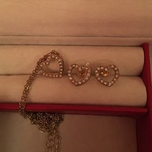 Gold Heart Necklace and Earrings Set
