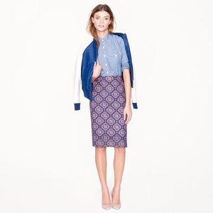 J.CREW No. 2 pencil skirt medallion print