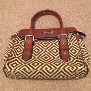 Spartina 449 Handbags - Spartina 449 Olive & Cream Linen & Leather Satchel