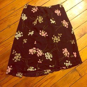 Ann Taylor Dresses & Skirts - Vintage Anne Taylor petites Floral Black Skirt