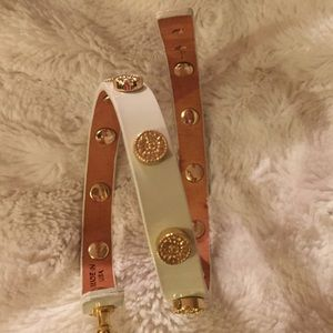 Tory Burch white wrap patent leather bracelet