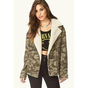 Army camo military aviator bomber Sherpa jacket