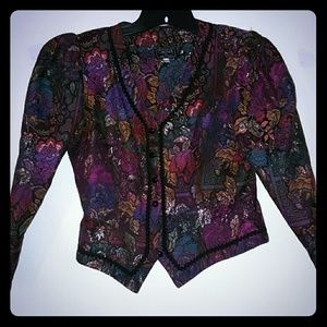 90s crop flower metallic blazer
