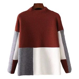 Goodnight Macaroon Sweaters - Colorblock Mockneck Sweater