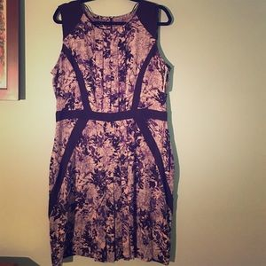 Purple/Black Floral Sleeveless Dress