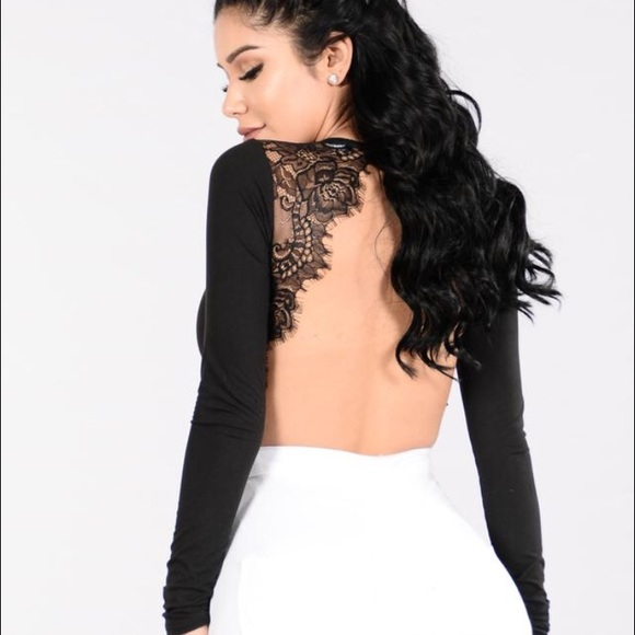 Black Backless Lace Bodysuit 69bfd3425