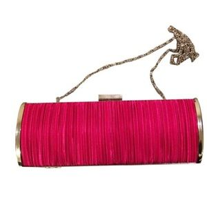 Moving sale Raspberry clutch with removable strap