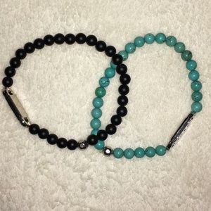 Urban Outfitters Other - Zack (2) bracelets black turquoise marble