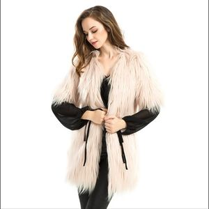 Cream faux fur vest S