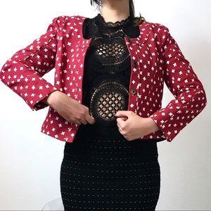 Rachel Roy Jackets & Blazers - :: Rachel Roy Red And white Cross Crop Blazer