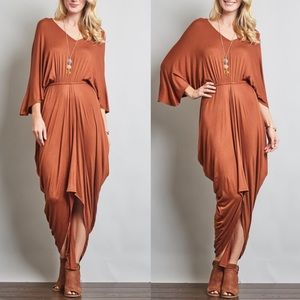 VENUS draped loose sleeve dress BRICK