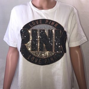 NWT VS PINK BLINGED OUT Tee - Generous Small