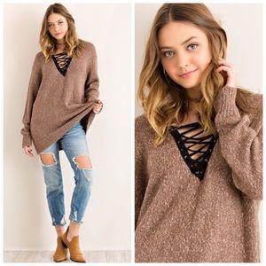 ❗️CLEARANCE❗️Mocha Lace Up Oversize Sweater S M L