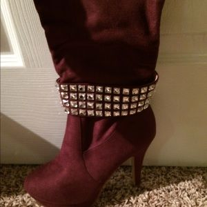 Shoes - Burgundy suede knee length boots