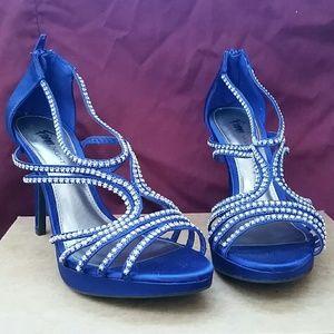FIONI Clothing Shoes - Nwot Sapphire Rhinestone Satin Heels