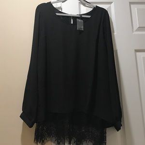 Mine Too Tops - Black lace detail blouse