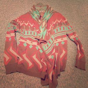 Tribal print cardigan sweater