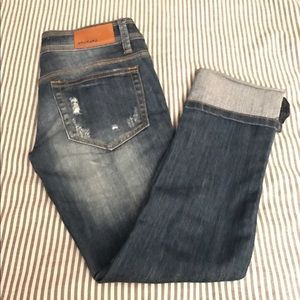 Dollhouse cropped distressed jeans