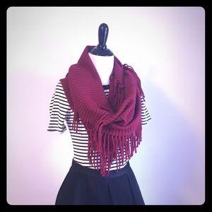 Red fringe infinity scarf NWOT