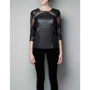 Zara Faux Leather & Lace Top