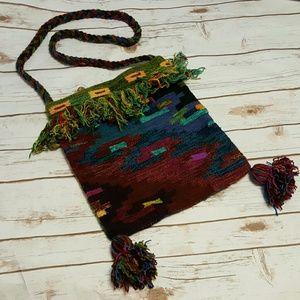 Ethnic Peruvian handwoven cross-body purse