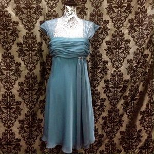 Patra Dresses & Skirts - NWT Aqua Ruched Bodice Chiffon/Jeweled Dress