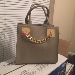 Taupe Gold Chain Handbag