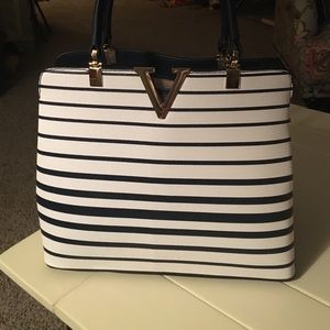 Handbags - Navy/ White Stripe Purse
