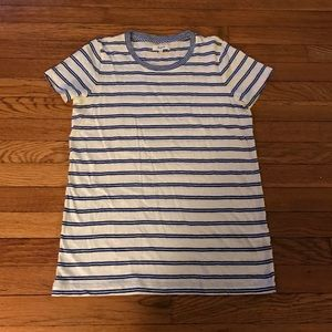 MADEWELL BLUE AND WHITE STRIPED TEE