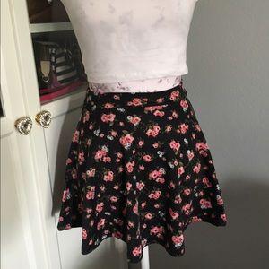 Flower print skater skirt