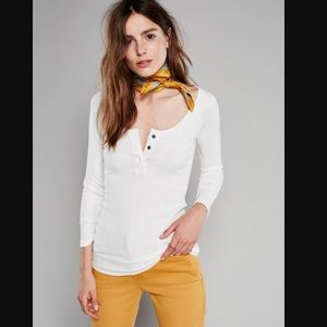 NWT Free People Jill Henley Top in Ivory Large