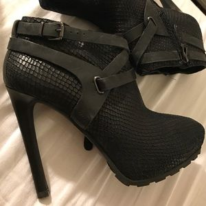 Leather high heel booties