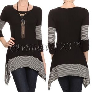  Asymmetrical Stripe Tunic Top