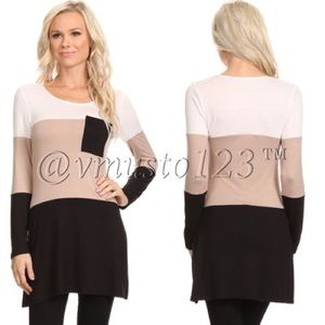  Taupe and Black Colorblock Tunic Top