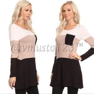  Taupe and Black Colorblock Tunic Top