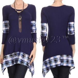  Plaid Asymmetrical Tunic Top