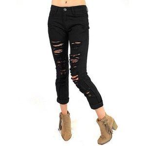 Machine Denim - 🆕 Black Distressed Boyfriend Jeans