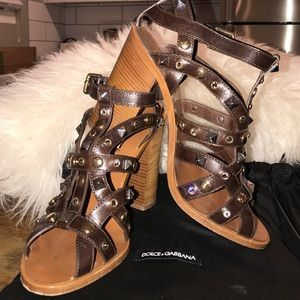 Dolce & Gabbana Shoes - Dolce & Gabbana Brown Leather Studded Sandals